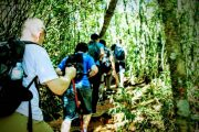 HIkers going to Pedra Bonita Summit